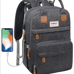 Baby Diaper Bag with Charging Port & Compartments